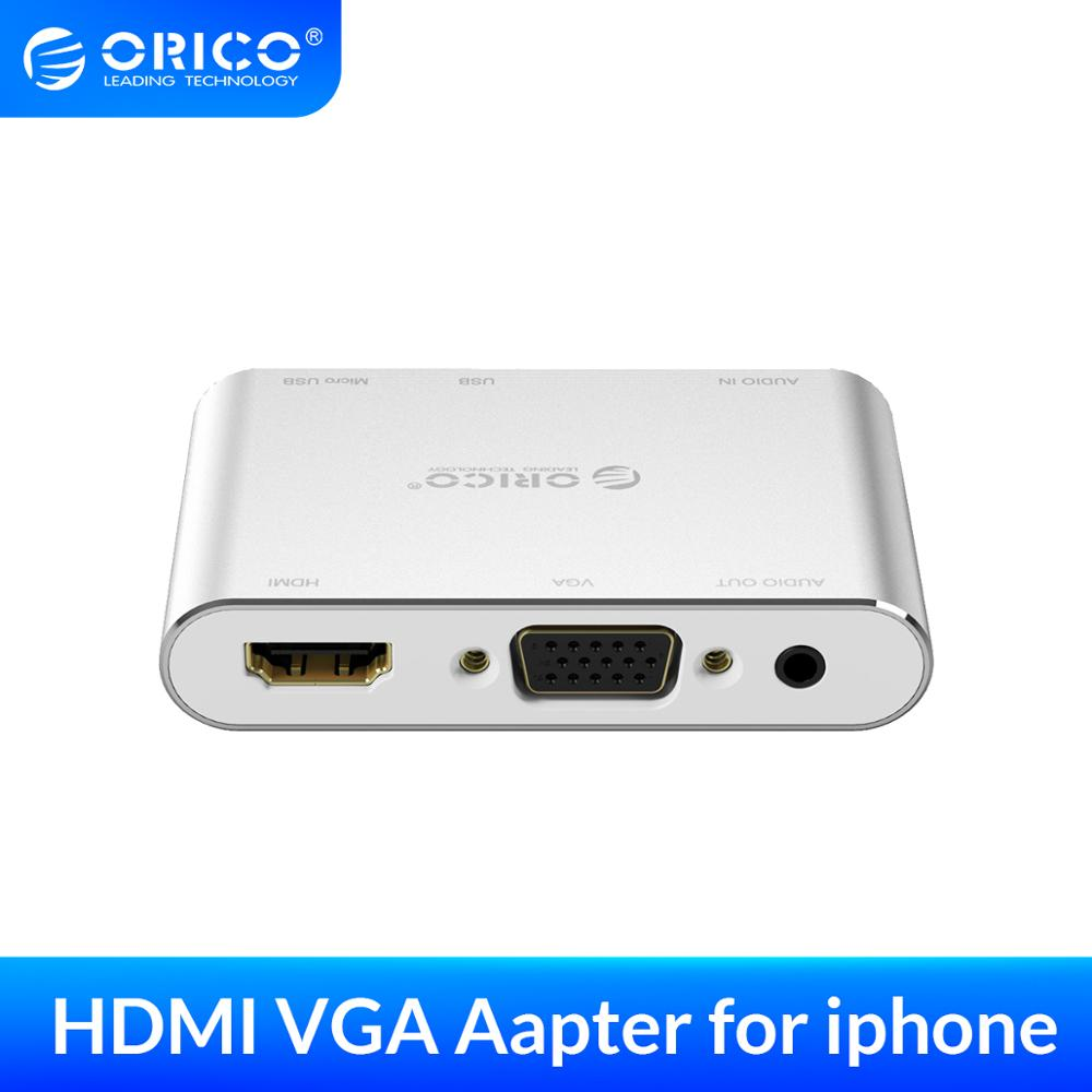 ORICO Mobile Phone Video Adapter 1080P HD HDMI VGA For iPhone ipad Tablet Converter With 3.5mm AUX Audio Adapter