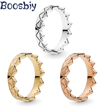 Boosbiy Fashion 3 Colors Crystal Exotic Crown Ring For Women Wedding Engagement Party Fine Jewelry Gift Dropshipping