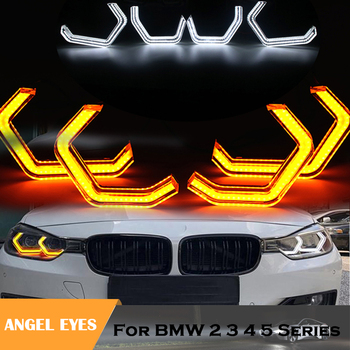 white yellow dual color M4 Iconic Style LED Crystal Angel Eye light Kits for BMW F30 F31 F34 F10 F13 F18 F22 M2 M3 M5 E90 E81