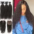 Пупряди человеческих волос с глубокой волной, 28, 30 дюймов, с 13x6 Hd прозрачными кружевными волосами, бразильские волнистые волосы 3, 4 пряди, нар...
