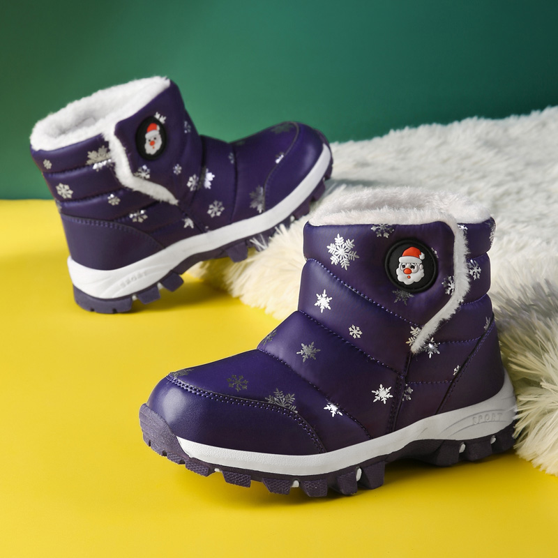 Christmas Kids  Boots Keep Warm Children Sport Shoes Fur Winter Girls Boys Snow Boots Printing Waterproof  SD045