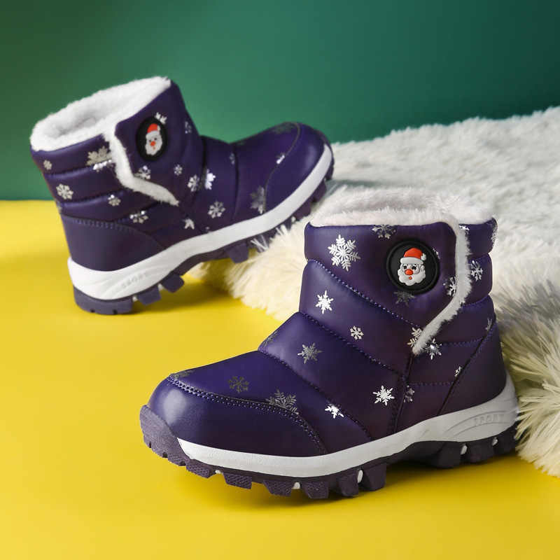 Navidad niños botas mantener caliente niños calzado deportivo piel invierno niñas niños botas de nieve impresión impermeable SD045