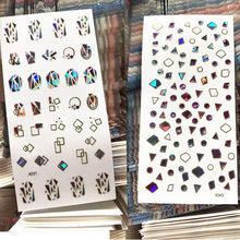 Date A043 037 bijou conception 3d autocollant à ongles transparent ongles décalcomanies strass décalque bricolage décorations