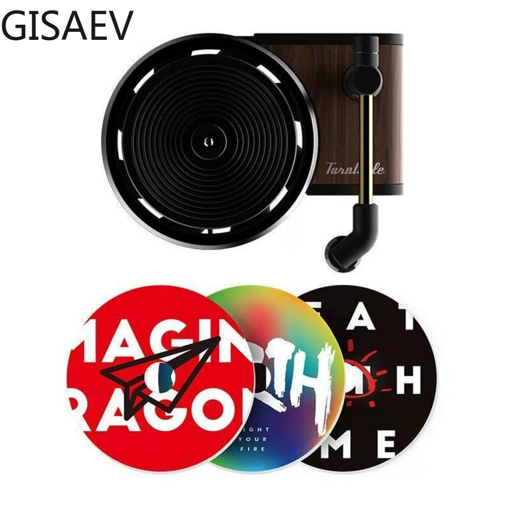 GISAEV Turntable Phonograph Car Fragrance Diffuser Car Air Freshener With Replace Aromatherapy Sheet Record Player Car Perfume