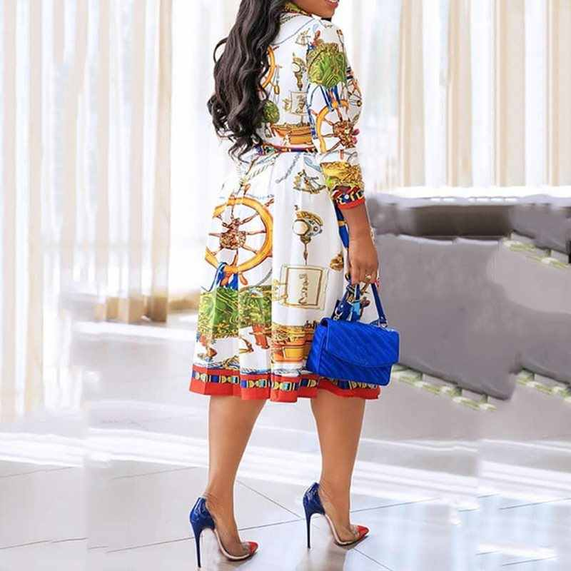 Jesień jesień 2019 klapa połowy łydki sukienka z wysokim stanem duży Plus rozmiar nadruk geometryczny elegancka biurowa, damska tunika sukienka plisowana Midi