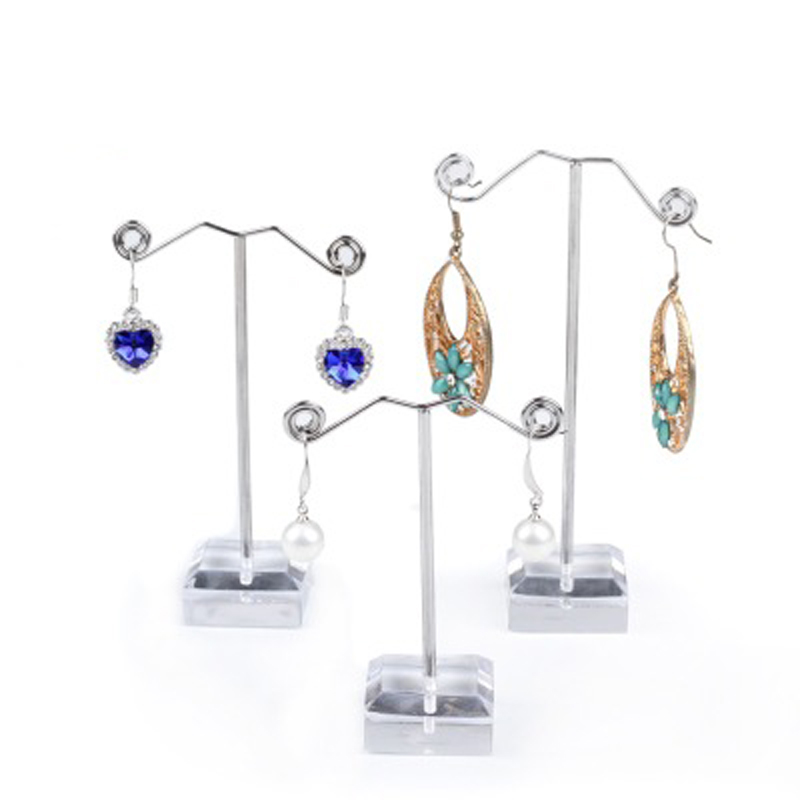 Fashion Black Clear Acrylic Earring Jewelry Display Rack Stand Organizer Stud Bouches Ornament Hanger Holder Hook Wholesale