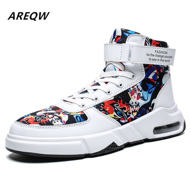 2019 Spring And Autumn Graffiti Color Matching Men's Laced Sneakers Outdoor Hiking Trend Flat High High New Casual Shoes