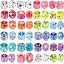 2 pcs/lot Acrylic Ear Plug Tunnels Cute Expanders Screw Fit Flesh Tunnel Gauges Piercing Mixed Styles Stretcher Jewe