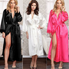 2020 Newest Hot Women Sexy Faux Satin Lace Silk Long Solid Robes Nightdress Sleep Dresses Female Belt Without Bathing Robes(China)