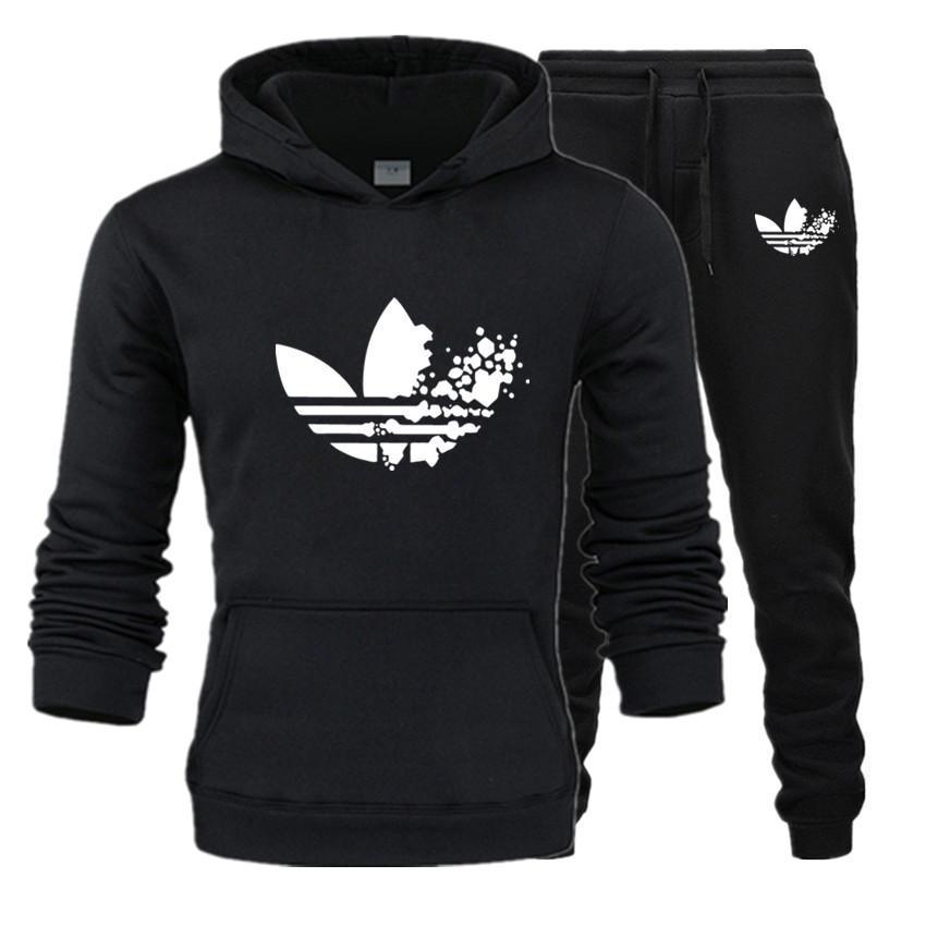 New ADI Brand Men Sweatshirt Tracksuit Prints Thermal Underwear Men Sportswear Sets Fleece Thick Hoodie+Pants Sporting Suit Male