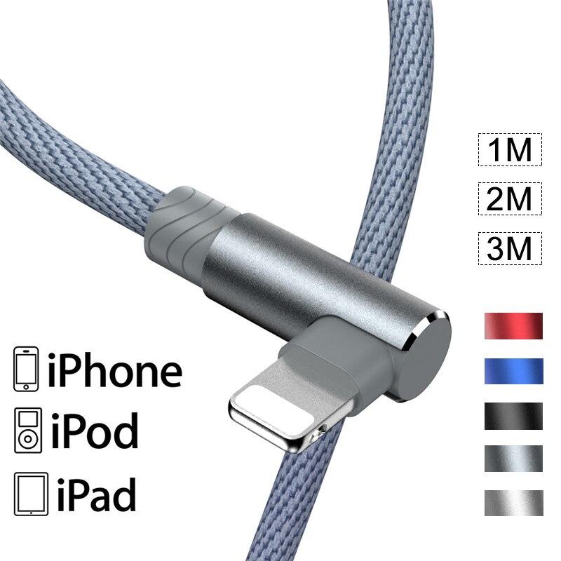 90 ° L Type USB кабель для быстрой зарядки для iPhone 11 12 Pro X Max 8 7 6 6S Plus Apple iPad Origin мобильный телефон провод шнур питания