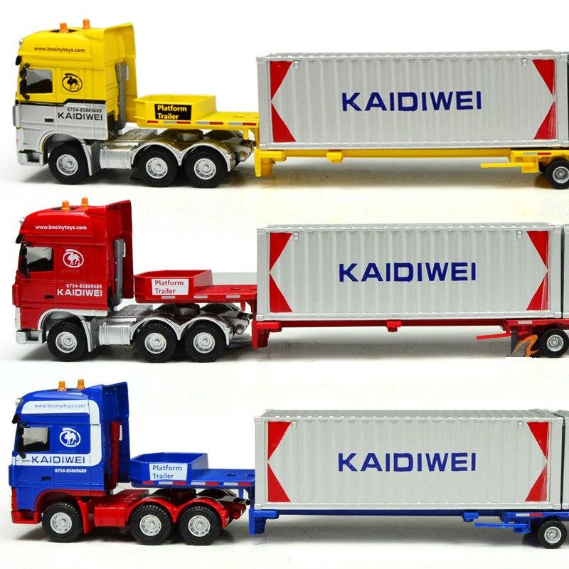 Série de véhicules de Construction 1/50 camion de Transport plat d'expansion lourde tout-alliage modèle de véhicule camion de conteneur lourd de moulage mécanique sous pression