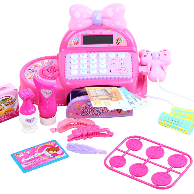 Kids Supermarket Cash Register Simulated Role Play Toys For Girls With Multi-Functional Calculator Pretend Play Toy For Children 3