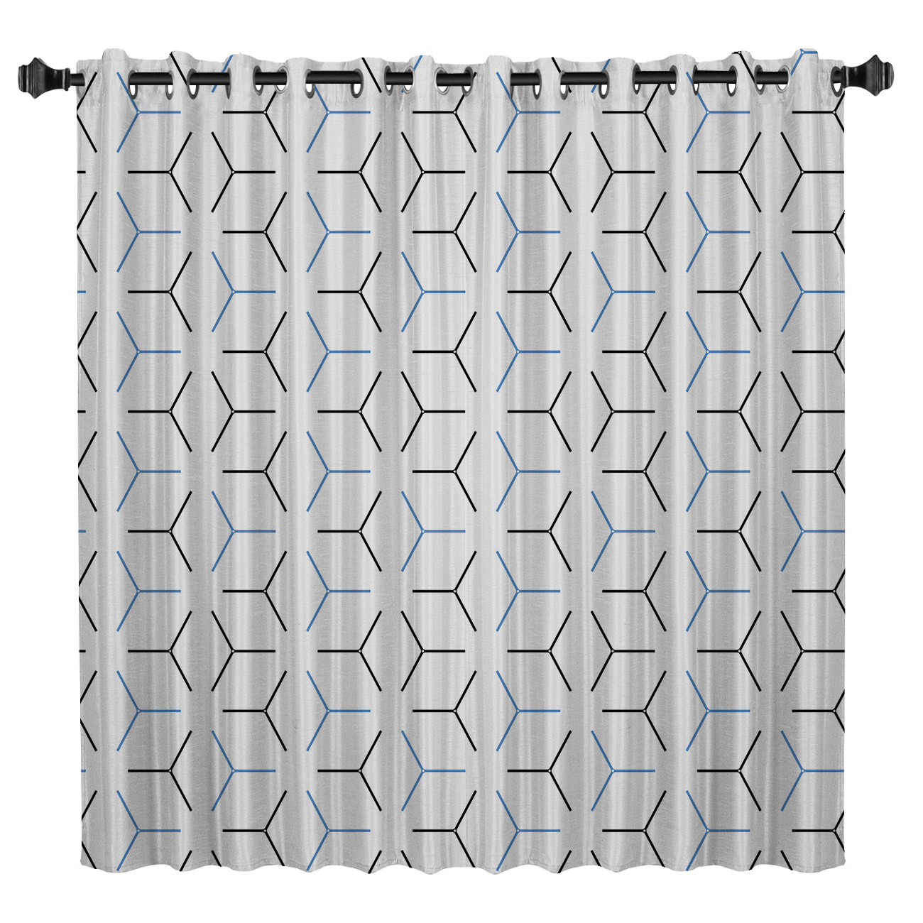 Geometric Lines Room Curtains Large Window Curtain Lights Living Room Blackout Kitchen Outdoor Indoor Fabric Decor Kids Curtain