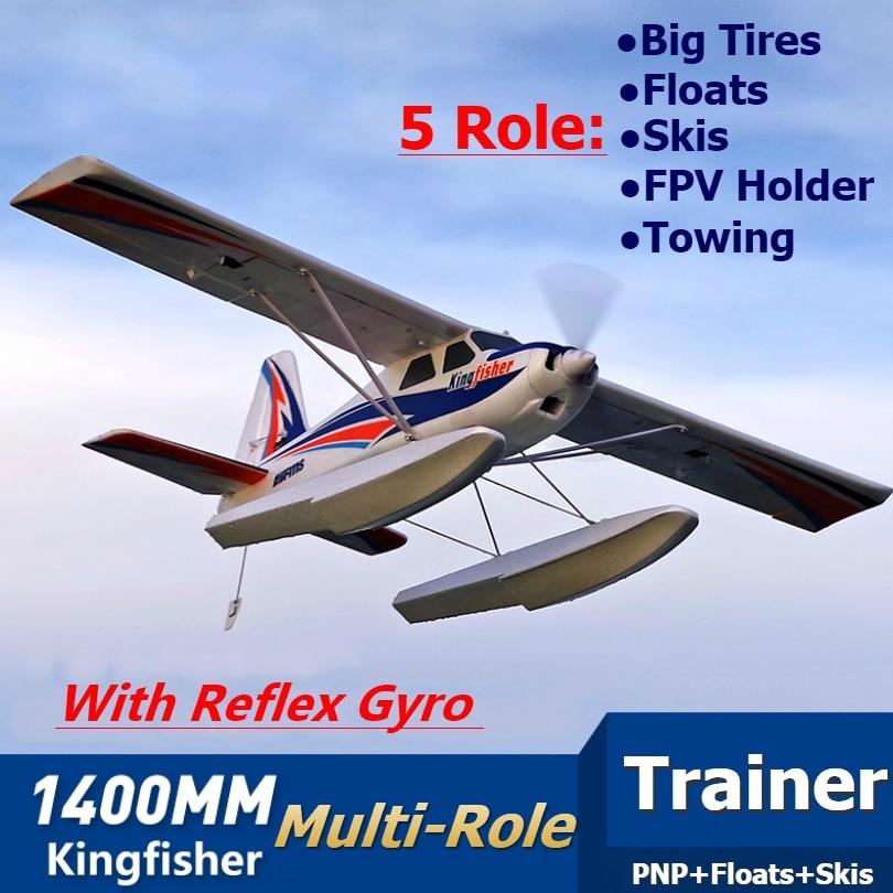 Радиоуправляемый самолет FMS 1400 мм зимородок тренажер для начинающих воды самолет с клапанами поплавки лыжи рефлекс Gyro с самонастраиваемым ...