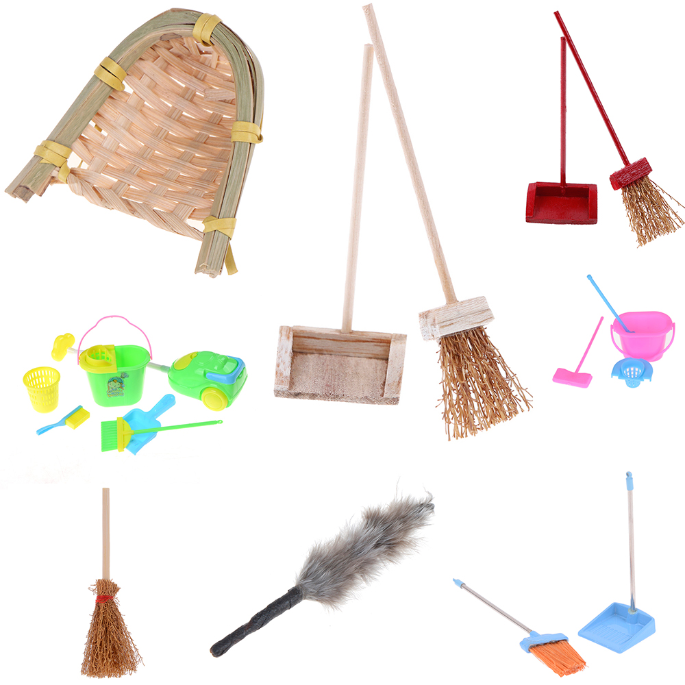 Mop Dustpan Bucket Brush Housework Cleaning Tools Dollhouse Garden Accessories For Dolls 1/12 Scale Miniature
