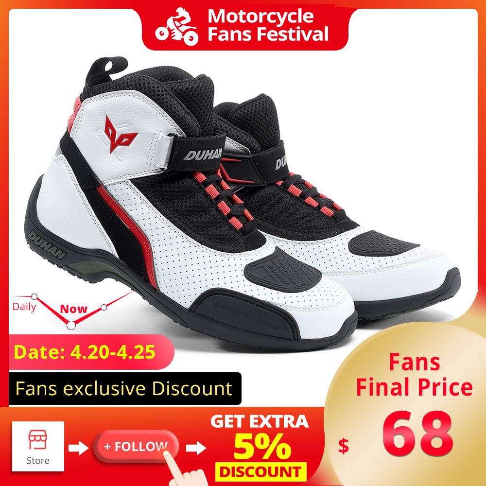 DUHAN Motorcycle Boots Summer Mesh Men Motorcycle Shoes Motocross Off Road Racing Boots Moto Boots Motorbike Black White|Motocycle Boots| |  - title=