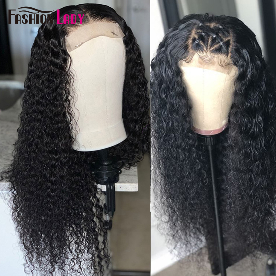 Fashion Lady Natural Color Lace Closure Wigs High Radio Curly Hair Closure Wig Pre Plucked Human Hair Wigs For Black Women