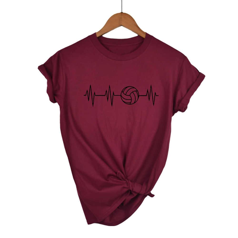 2019 Alta Calidad Algodón verano moda latido de Volleyballer camiseta mujer de manga corta de algodón cuello redondo Camiseta Casual camisetas
