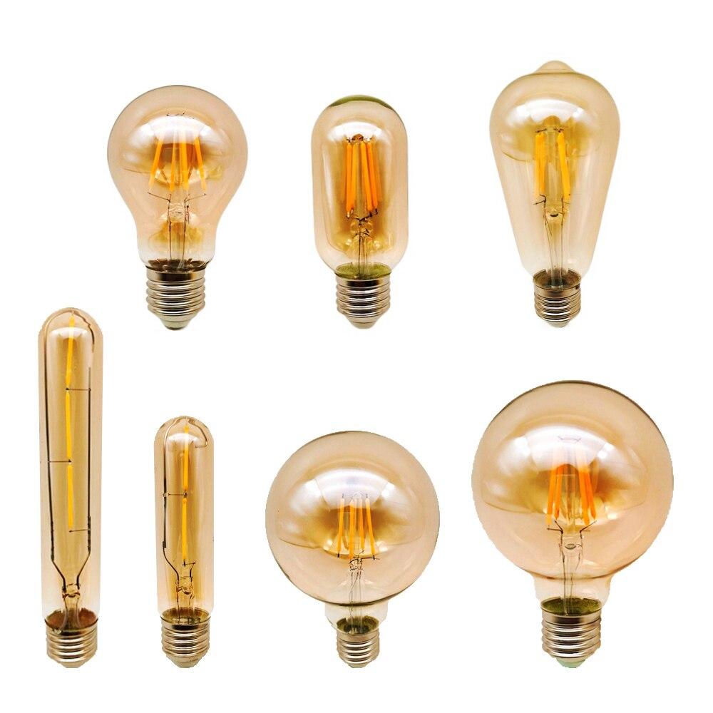 4W 6W 8W Античная Ретро Винтаж светодиодный Эдисон лампы E27 220V светодиодный лампы накаливания лампы G80 G95 ST64 Янтарный Декор Bombillas лампа Эдисона