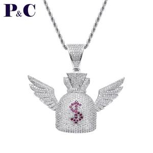 Moveon доллар $ символ кошелек Ангел ожерелья с крыльями хип-хоп ювелирные изделия Orna для мужчин t Rotate 3A Zrcon Шарм кулон для женщин мужчин подарки ...