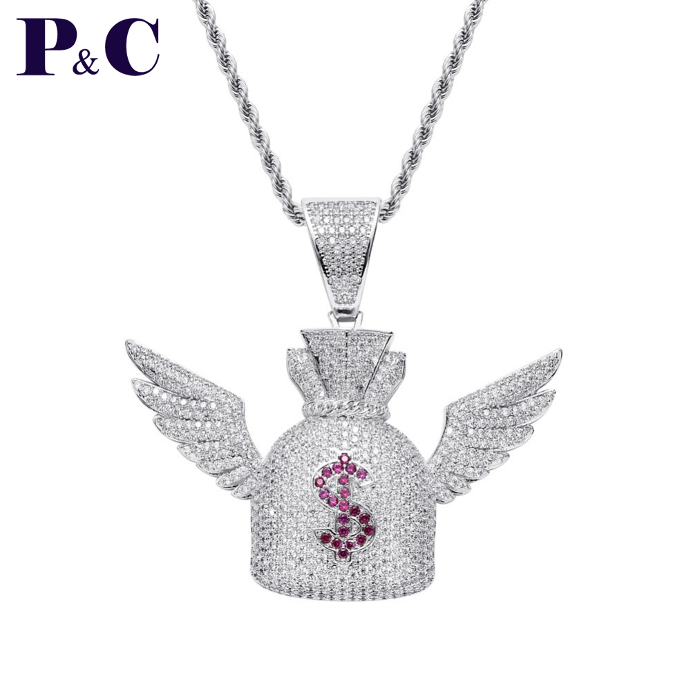 Moveon Dollar $ Symbol Purse Angel Wings Necklaces Hip Hop Jewelry Ornament Rotate 3A Zrcon Charm Pendant For Women Men Gifts Fa