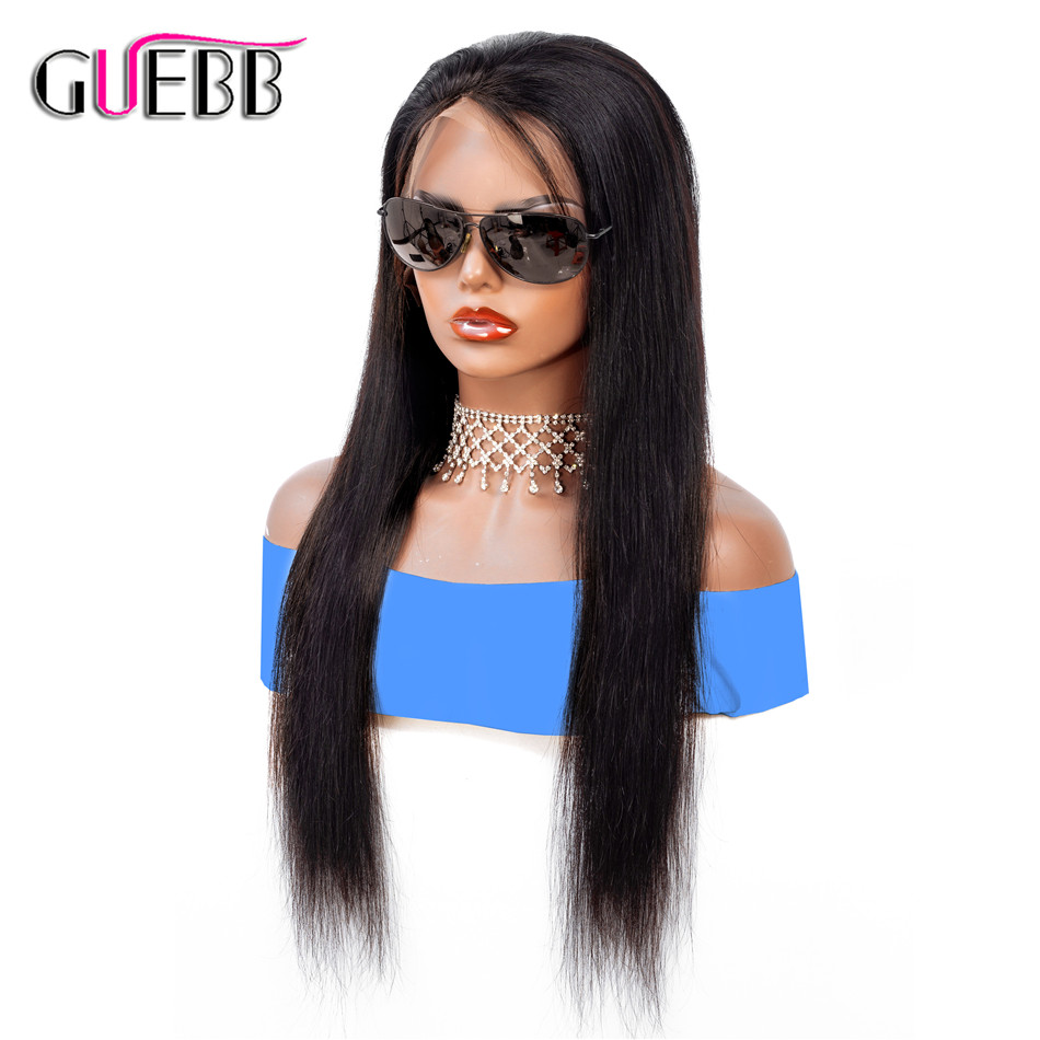 GUEBB 13 4 Straight Lace Front Wig For Women Brown Lace Wigs Brazilian Perruque Cheveux Humain