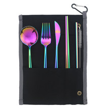7-Piece Colorful Portable Eco-friendly Stainless Steel Travel Cutlery Set Knife Fork Spoon Chopsticks Straws Set Picnic Flatware(China)