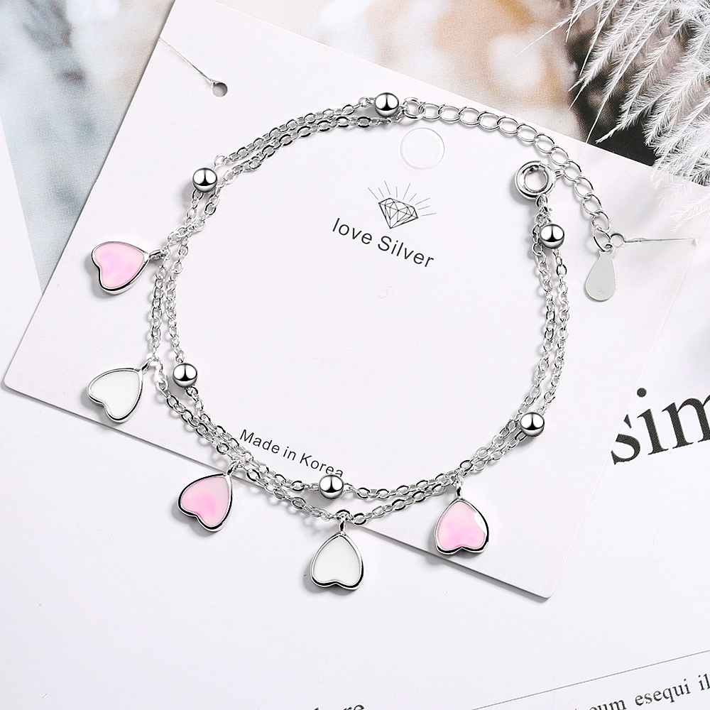 Sweet 925 Sterling Silver Pink Glaze Cherry Blossom Petals Gradient Heart Shaped Double Layer Chain Bracelets S-B262
