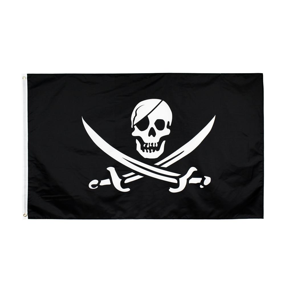 90*150cm Jack Rackham Skull Bone Pirate Flag For Decoration