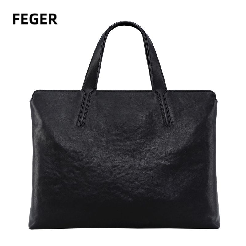 FEGER Handbags Laptop Bag Genuine Leather Briefcase Computer Bag Business Tote 14 Inch Tablet  Case Women Man A4 Files Bags