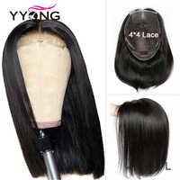 Yyong 4x4 Spitze Schließung Perücken Blunt Cut Bob Perücke Peruanische Gerade Haar Spitze Verschluss Perücken Für Schwarze Frau remy Menschenhaar Niedrigen Verhältnis