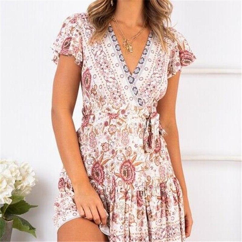 Women's Summer Wrap V Neck Bohemian Floral Print Ruffle Swing A Line Beach Mini Dress 3