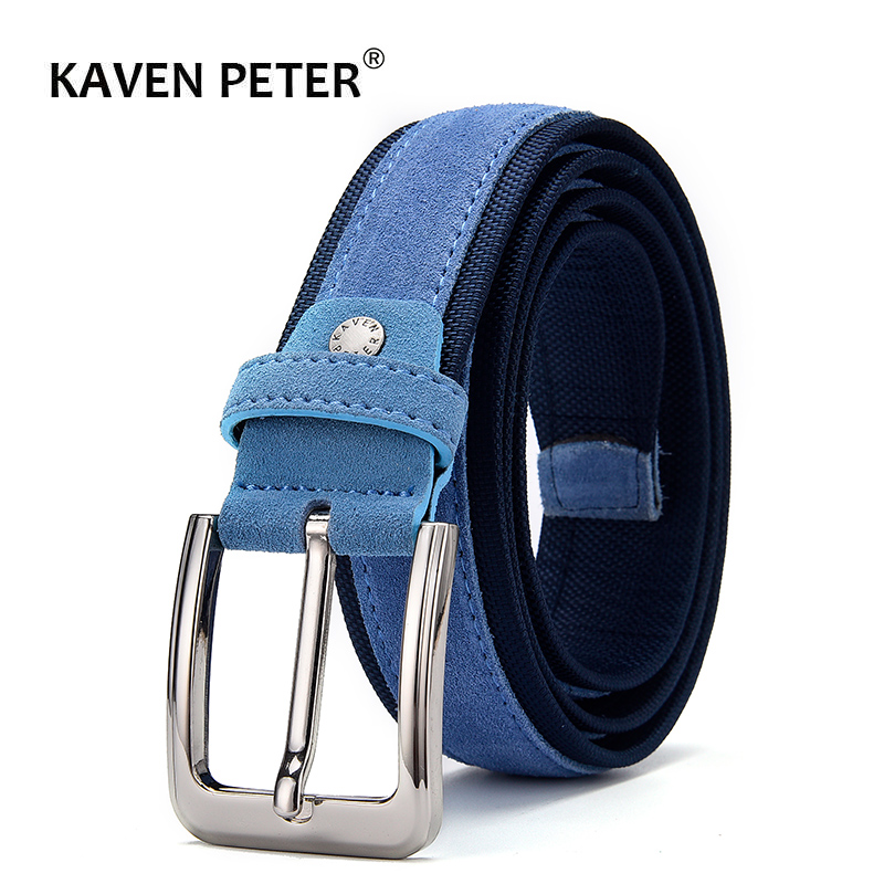 Men Suede Leather   Belt   With Oxford Fabric Strap Genuine Leather Luxury Pin Buckle Blue   Belts   For Men 3.5 cm and 4.0 cm Width