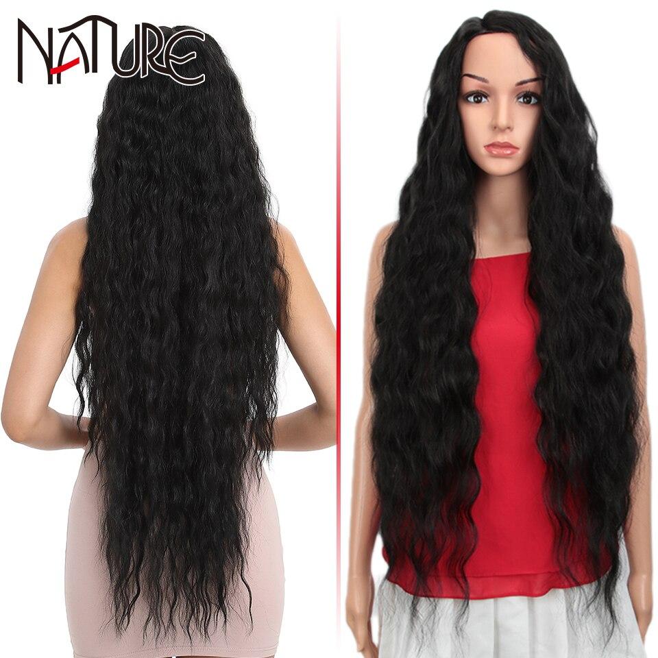Natural peruca solta onda cabelo peruca sintética fibra de alta temperatura 38 Polegada ombre loira super longo ondulado cabelo perucas para preto