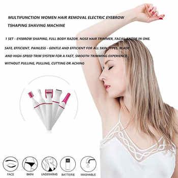 Multifunction Electric Epilator Women Face Underarm Eyebrow Nose Trimmer Body Removal Device Painless Razor