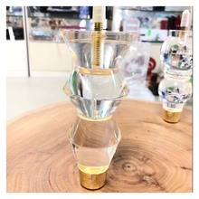 """6 Inch Acrylic Furniture Legs Btowin 4Pcs Clear Glass Spindle Turned Bun Feet with Threaded 5/16"""" M8 Hanger Bolts Brass Base"""
