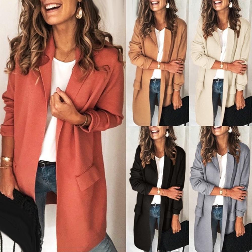 Office Lady Autumn Solid Color Long Sleeve Lapel Collar Pockets Decor S-lim Fit Blazer Jacket Pull Femme Nouveaute 2019