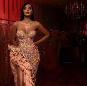 Image 3 - 아소 에비 샴페인 블러쉬 머메이드 댄스 파티 드레스 2020 반짝 이는 골치 아픈 건 높은 슬릿 아가 아랍어 이브닝 드레스 행사 가운