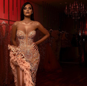 Image 3 - Aso Ebi Champagne Blush Mermaid Prom Dresses 2020 Sparkly Beaded Ruffles High Slit Sweetheart Arabic Evening Dress Occasion Gown