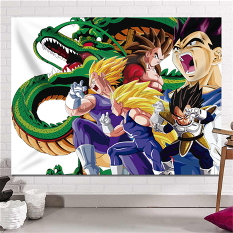 Dragon Ball Son Goku impression dortoir fond tissu Action Figure Anime maison décorative tissu tapisserie X2589 - 6
