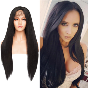 Image 2 - S noilite Synthetic Lace Front Wig 12.5x3 Ombre Yaki Straight Hair Lace Wig Long Wigs For Women Cosplay Halloween Wigs