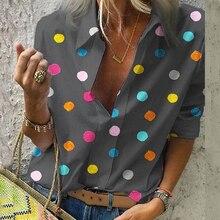 Богемная блузка с принтом в горошек, женские блузки, повседневные Осенние Топы, женская рубашка размера плюс 5XL, гавайская рубашка