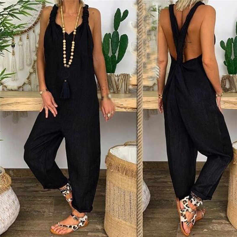High Street Frauen Casual Overall Sexy Streifen Backless Lose Solide frauen Overalls Party Strand Bodycon Overalls Für Frauen