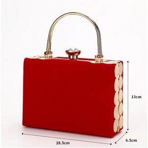 Image 2 - Elegant Velour Hard Surface Women Evening Bags Rectangle Box Bag Handbags Black Red Fashion Party Clutches Ladies bolsa feminina