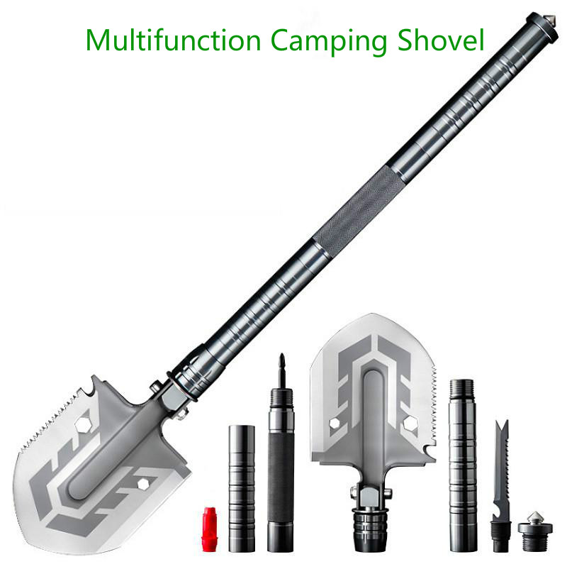 Outdoor Tactical Camping Shovel 58 HRC  Multitool Folding Shovel Lifter Mounted Shovel Fishing Outdoor Emergency Camping Tool