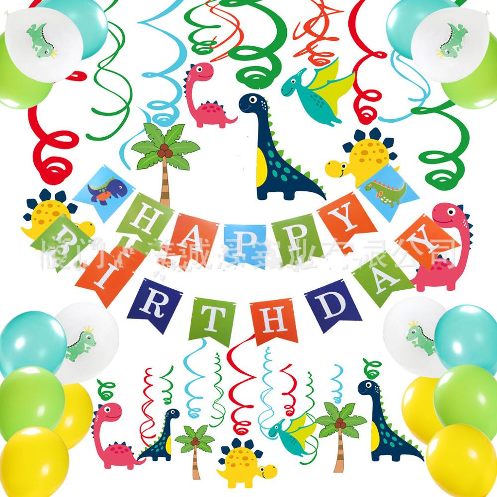 Baby Party Decorations Set Color Dinosaurs Theme Newborn Baby Birthday Party Kids Boys Party Decorations