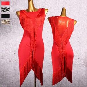 Image 1 - Robe de danse latine à franges pour femmes, Type V, en maille, vêtements de danse pour tout le corps, ligne à franges, 2 pièces, robe et short, DQ3185