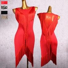 Vestido de dança latina feminino tassel v tipo malha dança wear todo o corpo borla linha salsa franja vestido latina 2 peças vestido & shorts dq3185