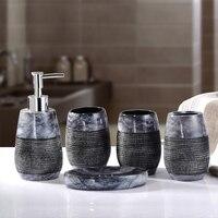 European High grade Marble Bathroom Five piece Set Household Brushing Cup Soap Dish Lotion Bottle Washing Setnew Wedding Product